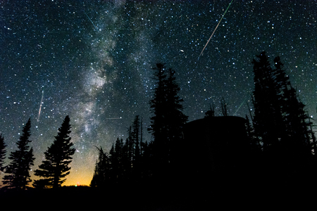 Perseid meteor shower with the milky way during a summer night