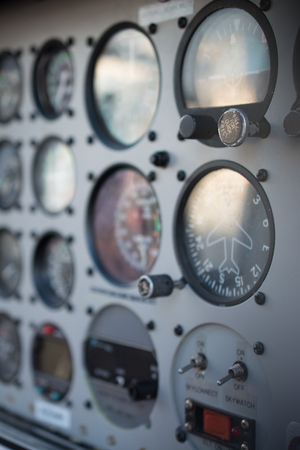 Close up of the instrument panel in a helicopter Imagens