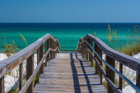 Boardwalk view of the beach in Pensacola, FL
