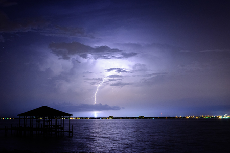 Lightning storm over Pensacola, FL bay area