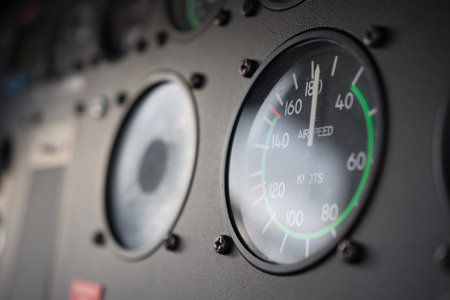 Close up of a helicopters instrument panel