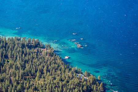 Aerial shot of the Lake  Tahoe shoreline during the summer