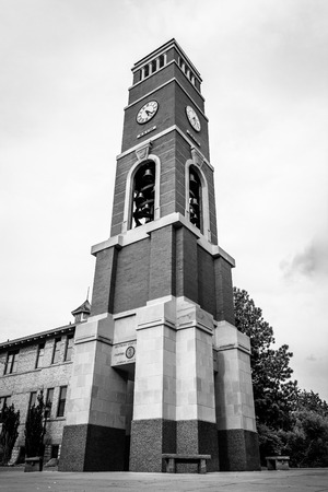 Clock tower on the campus of a college campus