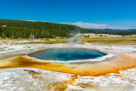 Spring in Yellowstone with landscape and steam