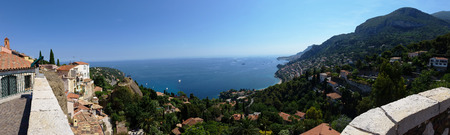 azure coast: View on Azure coast in Roquebrune Cap Martin. The old village, the cape and the bay of Roquebrune