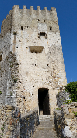 strong chin: Castle of Roquebrune-Cap-Martin in southeastern France between Monaco and Menton Editorial