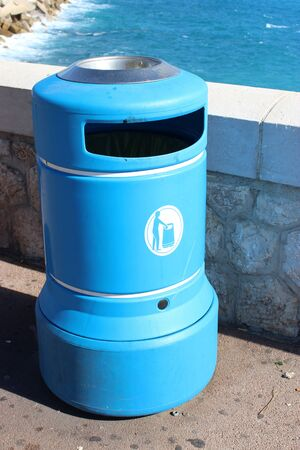 recycles: Blue Plastic Bin in the city of Nice in France Stock Photo