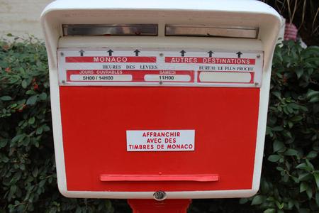 monegasque: Red Monegasque Post Box in Larvotto, Monaco