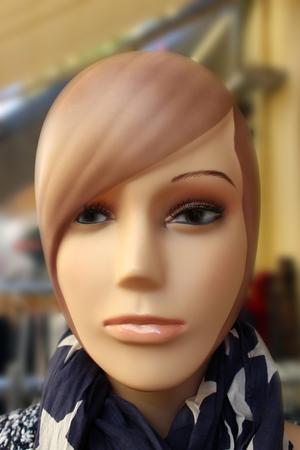 mannequin head: Closeup of a Female Mannequin Head in Shop