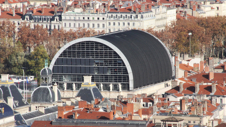 opera house: Aerial View of the Opera Nouvel Nouvel Opera House in Lyon, France Stock Photo