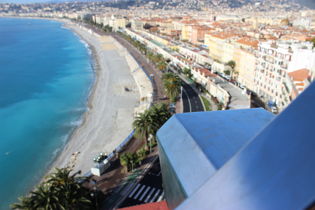 nice france: Telescope overlooking for Nice, France, cityscape from above