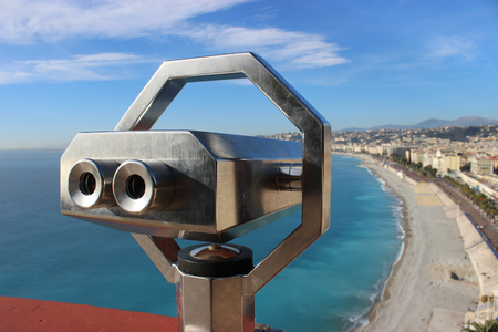 Telescope overlooking for Nice, French Riviera, France