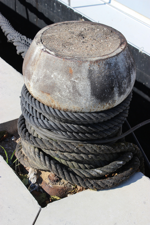Bollard with mooring lines. Harbor of Confluence in Lyon, France