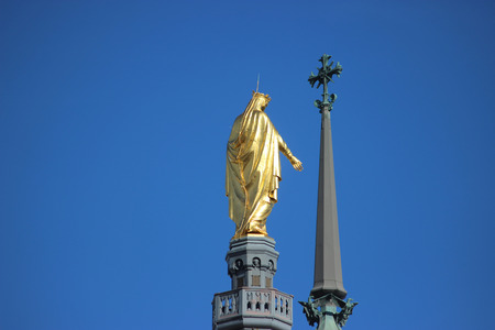 mother god: Golden Statue of Virgin Mary the back view. Basilica of Our Lady of Fourviere in Lyon,