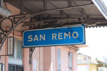 sanremo: Station Sign in Sanremo Sanremo, Italy Editorial