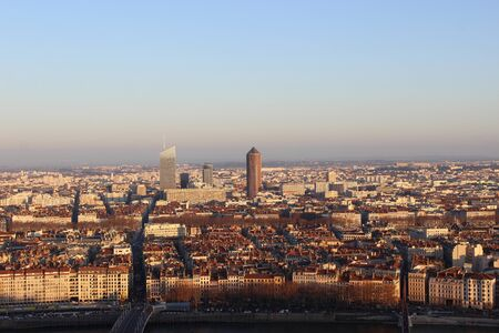 panoramic roof: Panoramic View of Lyon City at Sunset, France