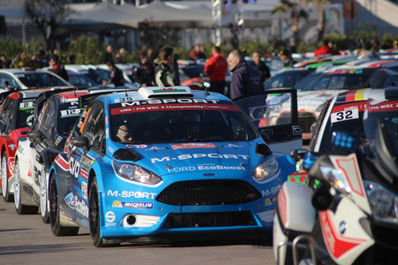 craig: Monte-Carlo - January 24: Pilot and copilot EVANS Elfyn PARRY Craig Waited in the Ford Fiesta RS WRC2 on the Port of Monaco. Monte Carlo Rally 2016, south of France on January 24, 2016 in Monte Carlo, Monaco
