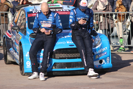 craig: Monte-Carlo - JAN 24 : The pilot EVANS Elfyn and Co-driver PARRY Craig were sitting on the hood of their Ford Fiesta RS WRC2 on the port of Monaco. Monte Carlo Rally 2016, south of France on January 24, 2016 in Monte-Carlo, Monaco