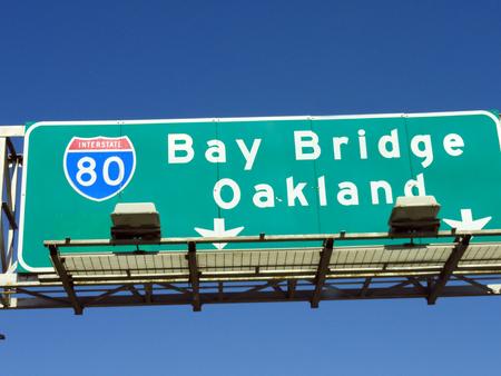 interstate: Bay Bridge Oakland Interstate 80 Sign Stock Photo