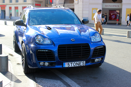 ch: Nice, France - September 18 2015: Porsche Cayenne Magnum Turbo Techart 680 Ch in the street in Nice, France Editorial