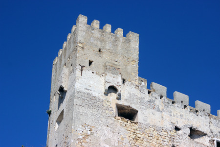 crenelation: Castle Wall with Blue Sky Background in Roquebrune-Cap-Martin Editorial