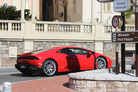 montecarlo: Monte-Carlo, Monaco - March 9, 2016: Red Sport Car Lamborghini Huracan LP 610-4 on Avenue dOstende in Monte-Carlo, Monaco in the south of France
