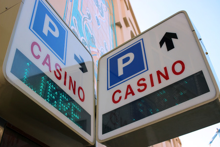 montecarlo: Sign Showing the Direction to Casino and Parking in Monte-Carlo, Monaco Stock Photo