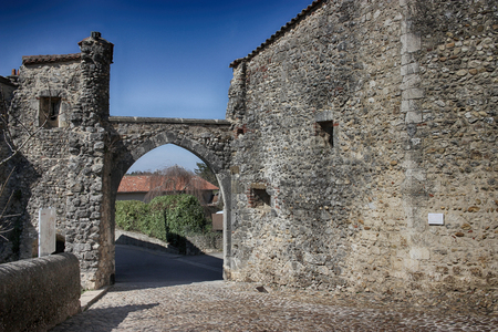 entryway: Perouges is a Medieval Walled Town near Lyon in France Stock Photo