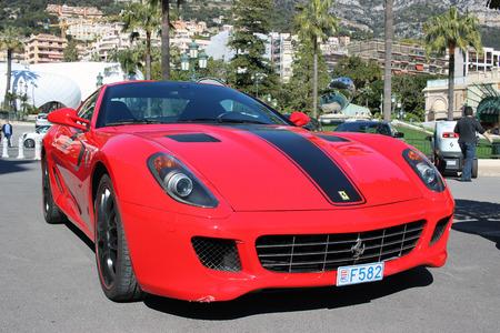 montecarlo: Monte-Carlo, Monaco - March 9, 2016: Red Ferrari 430 Scuderia Parked in Front of the Monte-Carlo Casino in Monaco
