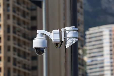 dome type: Dome Type Outdoor CCTV Camera on Street Lamp in Monte-carlo, Monaco