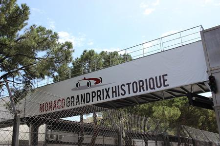montecarlo: Monte-Carlo, Monaco - April 28, 2016: Red and White Monaco Grand Prix Historique Signboard in Monte-Carlo, Monaco Editorial