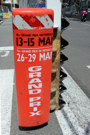 montecarlo: Monte-Carlo, Monaco - April 28, 2016: Red and White Monaco Grand Prix Historique Plastic Signboard in Monte-Carlo, Monaco