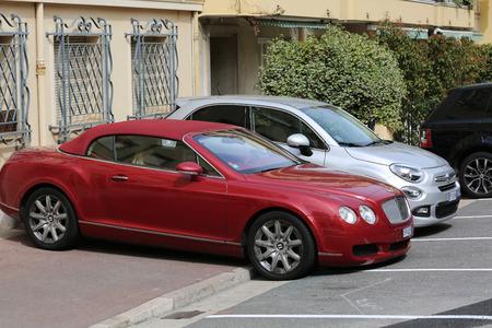 montecarlo: Monte-Carlo, Monaco - May 28, 2016: British Luxury Car Bentley Continental GTC Badly Parked on the Sidewalk in Monaco