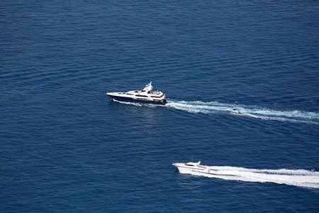 seaway: Luxury Yachts Wake on Mediterranean Sea, between Cap dAil and Monaco