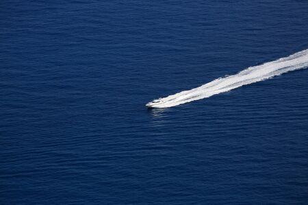 seaway: Luxury Boat Wake on Mediterranean Sea, between Cap dAil and Monaco