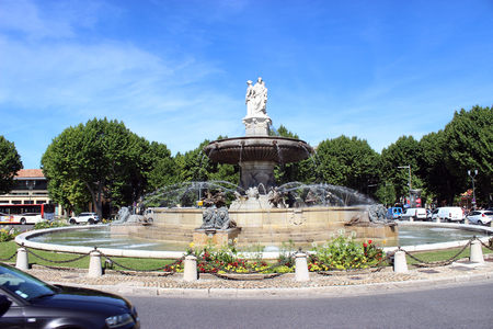 municipal editorial: Aix-En-Provence, France - June 19, 2015: La Rotonde Fountain in Aix-En-Provence in the South of France Editorial