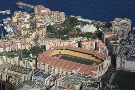 Fontvieille, Monaco - June 1, 2016: Aerial view of Stade Louis II and Fontvieille District in Monaco, south of France