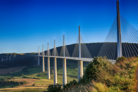 tallest bridge: Millau, France - August 21, 2016: The Millau Viaduct Is The Tallest Bridge In The World with One Masts Summit At 343 Metres Above The Base Of The Structure. Aveyron, Midi Pyrenees, France