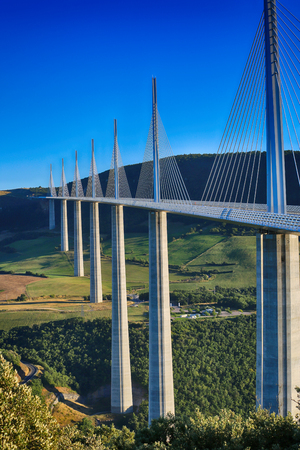 Millau, France - August 21, 2016: The Millau Viaduct Is The Tallest Bridge In The World with One Masts Summit At 343 Metres Above The Base Of The Structure. Aveyron, Midi Pyrenees, France