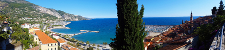 menton: Beautiful Panoramic View of the City of Menton and the Mediterranean Sea Stock Photo