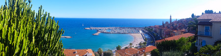 menton: Beautiful Panoramic View on the Bay of Menton, French Riviera