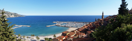 menton: Panoramic View of the Old Town of Menton, French Riviera, France
