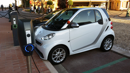 Monaco-Ville, Monaco - October 4, 2016: Small Smart Fortwo Electric Car Charging Station at in the City Street in Monaco-Ville, French Riviera