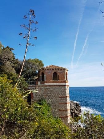 menton: Mediterranean Sea Coastal Landscape Rocks, Roquebrune-Cap-Martin, France