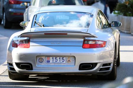 Monte-Carlo, Monaco - March 17, 2018: Gray Porsche 911 Turbo (Rear View) In The Streets Of Monaco in The French Rivier