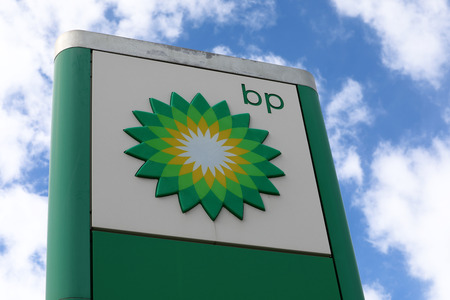 Menton, France - March 19, 2018: British Petroleum Petrol Station Logo Against Blue Sky. British Petroleum is a British Multinational Oil And Gas Company, One of The Worlds Seven Oil And Gas Supermajors Editorial