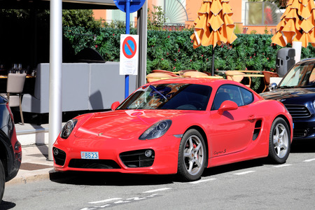 Menton, France - March 19, 2018: Luxury Red Porsche 718 Cayman S Parked In The Street Of Menton On The French Riviera