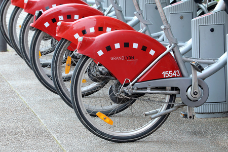 Lyon, France - April 11, 2018: Self Service Bike Rental, Bicycles For Rent Station in Lyon, France, Europe