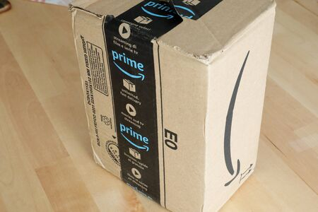 Roquebrune-Cap-Martin, France, September 5, 2018: Amazon Package Box Cardboard Delivery From Amazon Prime, Closeup View. Amazon Prime Is A Paid Subscription Service Offered By Amazon.com 에디토리얼