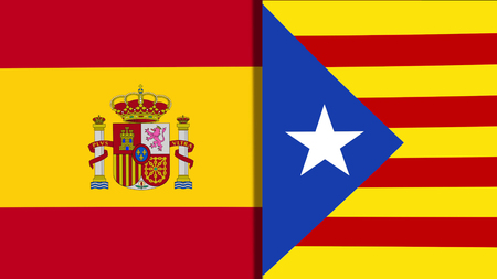 Mix of Two Realistic Waving Flags of The Spain And The Catalonia Banco de Imagens